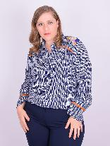 Camisa Manga Longa Bordada Viscose Estampada Plus Size